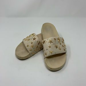 Tory Burch Leather Studded Star Slide Sandals
